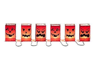 (Set of 2) 3 Light Luminary Bag Pumpkin Faces Light String Halloween Decor New - Luminary Bag