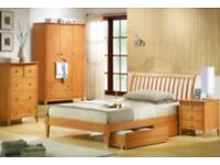 beautiful modern wood bedframe, size is small double/ queen size (£55)