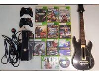 Xbox 360 Elite slim + 11 games + 2 x controllers + Guitar . 250Gb HDD