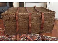 Large Vintage Wicker Storage Box with 3 genuine leather straps