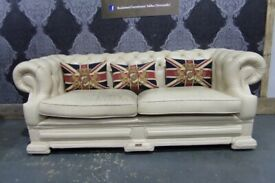 Fantastic Chesterfield 3 Seater sofa Dellbrook Cream Leather - Uk Delivery