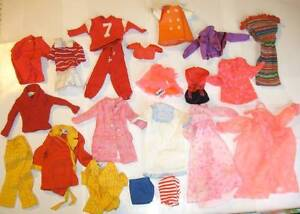 Vintage Barbie Lot Mod Era Clothes Ken Francie Football Robe Knit Dress PJ Tag