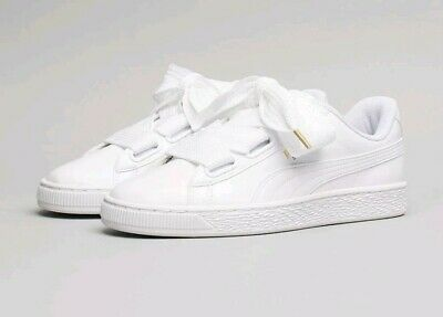 Womens Puma Basket Heart Patent White Trainers(EUR 37)