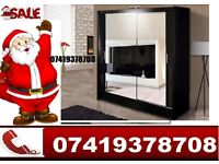 2 and 3 Sliding Mirror Doors Wardrobe with Drawers