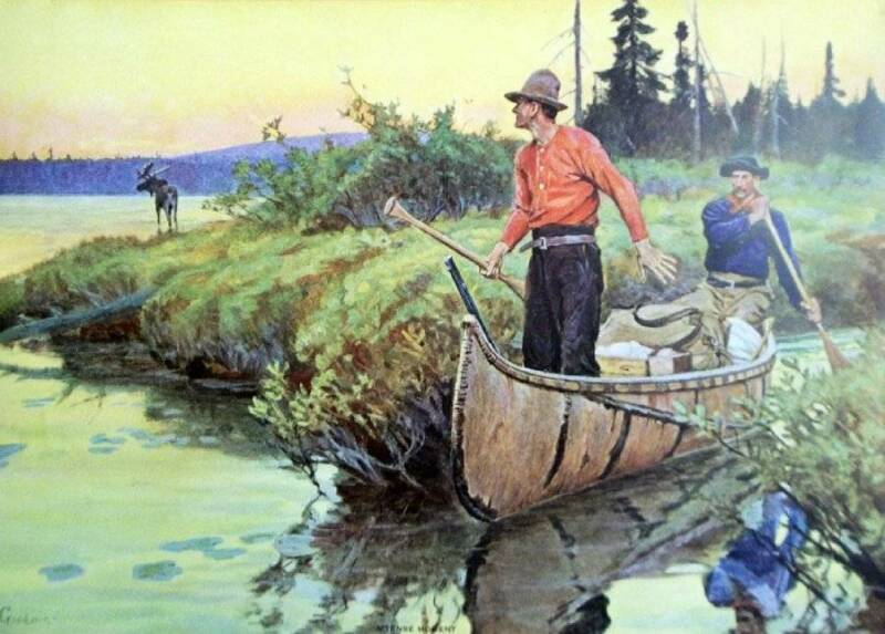 Hunters in Canoe Antlers Waving by Phillip Goodwin