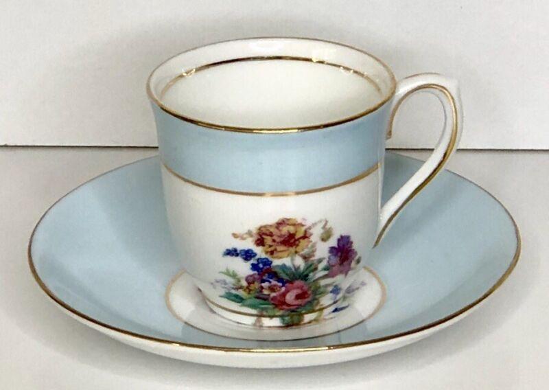 VTG Colclough Demitasse China Cup & Saucer Tea Set Light Blue Floral 8 Available
