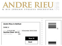 Two tickets for Andre Rieu - Fri, 9 December
