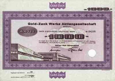 Gold Zack Werke 1966 Mettmann Barmen Elberfeld Fürth Prym 1000 DM Stammaktie RAR