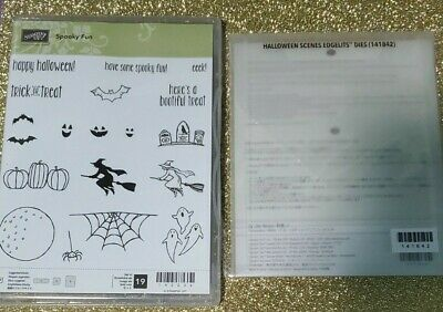 NEW Stampin Up SPOOKY FUN Stamps & HALLOWEEN Scene Edgelits Spooky Tree Fence