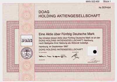DOAG Holding AG 1987 Ostafrika Kolonial Berlin Hamburg VDN 50 DM Mittellandbahn
