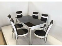 BRAND NEW DINING TABLE WITH 6 CHAIRS (DIFFERENT COLOR AVAILABLE)