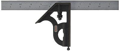Starrett C11h-12-16r Combination Square With Cast Iron Head And Black Wrinkle