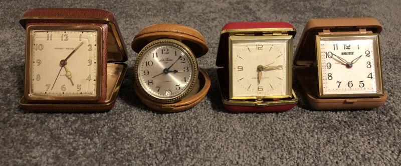Lot Of 4 Vintage Travel Clocks