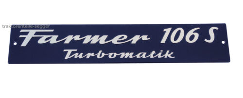 Motorhaubenschild Fendt Farmer 106 S Turbomatik Schild Traktor Schlepper  Foto 1