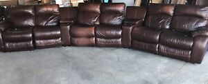 Power reclining leather modular sectional