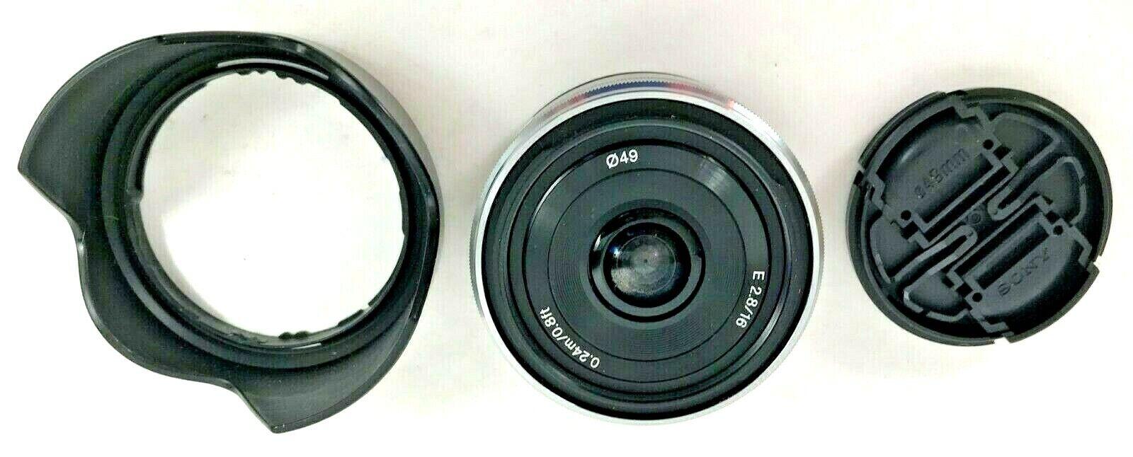 Sony Camera Lens Sel16f28 Interchangeable E Mount E2.8/16 0.24m/0.8ft/ 049 - $142.00