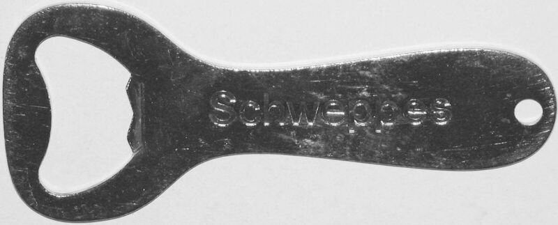 Vintage bottle opener SCHWEPPES soda pop marked Vaughan USA in n-mint condition