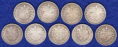 GB, Victoria Young Head Silver Threepences, 3d Date Run, 1873-81 (Ref. t1532)
