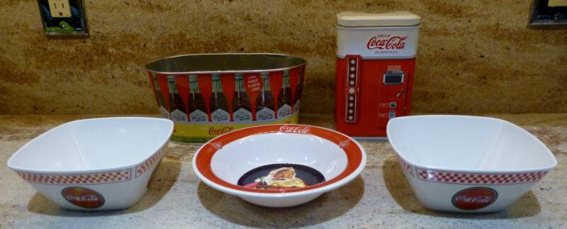 Set of 5 COCA COLA Bowls and Tins