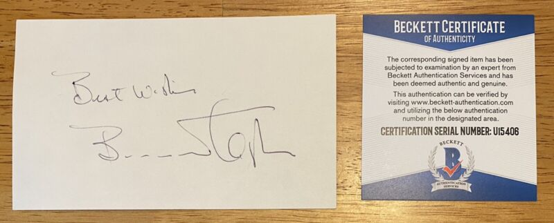 Barnard Hughes Signed Autographed 3x5 Card BAS Beckett Certified The Lost Boys