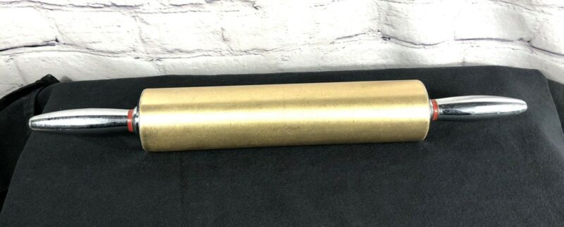 """Vintage Rolling Pin Mid Century Modern MCM Gold Chrome Silver  Metal 18"""""""