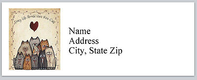 Personalized Address Labels Primitive Country Cats Buy 3 Get 1 Free Bx 431