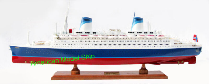 """SS Norway Cruise Ship 32"""" - Handcrafted Wooden Ocean Liner"""