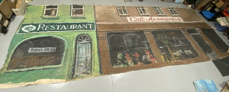 Gigantic Circus? Banner1950s-60s Hand Painted Canvas Backdrop 30 Feet