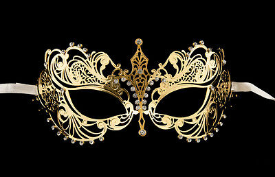 Mask venetian wolf in lace metal golden and rhinestones carnival VENICE 1261