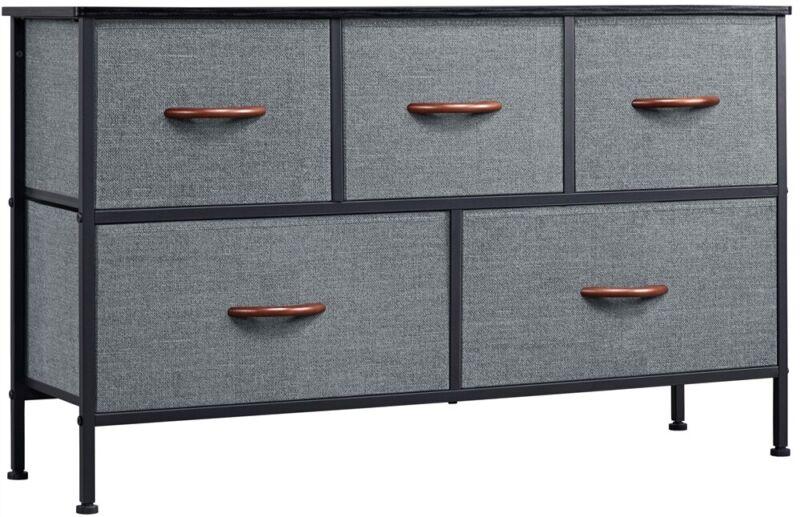 5 Drawer Dresser Fabric Chest Tower Storage Organizer Unit Bedroom Living Room