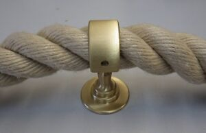 Seilträger messing matt für 30 mm Absperrseil Mittelträger Handlauf Wandhalter