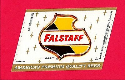 Falstaff Premium Quality Beer Bottle Label St Louis Mo