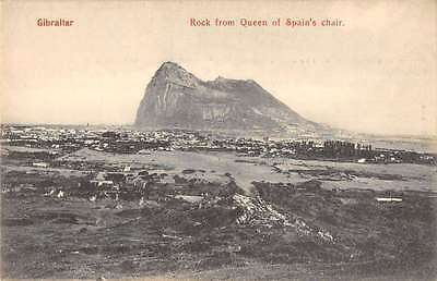 Rock of Gibraltar scenic view from Queen of Spains Chair antique pc Y15120