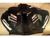 Alpinestars Black & White Leather Motorcycle Jacket SIZE USA