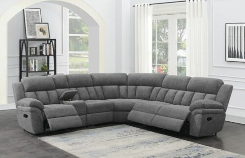 CHARCOAL GREY CHENILLE RECLINING SOFA WALL HUGGER SECTIONAL CONSOLE FURNITURE
