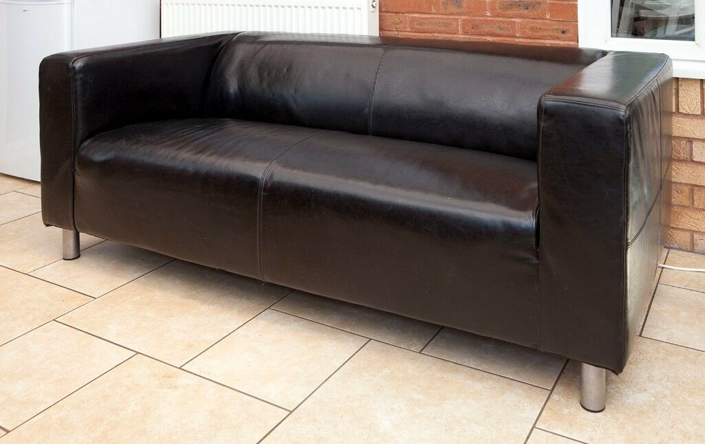 Ikea Klippan Black Leather Two Seater Sofa Hardly Used In Sketty