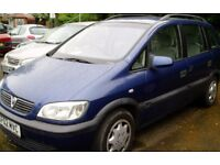 Cheap Seven Seater Zafira 1.6 with new MOT, good condition family carrier, practical and economical