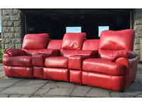 DFS red leather cinema recliner sofa, couch, suite DELIVERY AVAILABLE