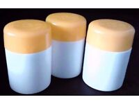 3 New Empty White Refillable Pills Tablets Holders Medicine Tubs with Yellow Caps.