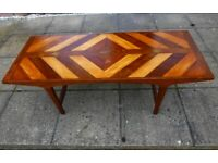 Bespoke Handcrafted Art Deco Style Coffee Table Inlaid Hardwood Top & Hardwood Frame