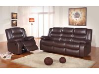 ***ROMAS BROWN NEW FREE DELIVERY LEATHER RECLINER SOFAS***