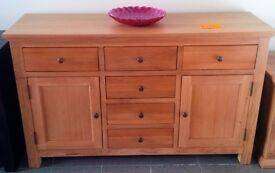 NEW Oak Six Drawer Sideboard with Two Cupboards