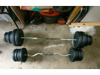 Ez bar plus weights bar and 80kg weights.