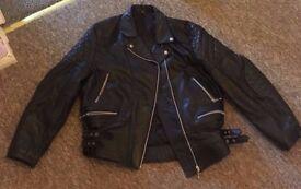 Black Leather Biker Style Jacket BARGAIN £40 o.n.o