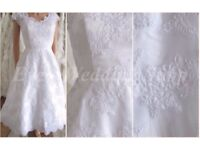 White lace tea lenght wedding dress with sleeves UK size 4/6