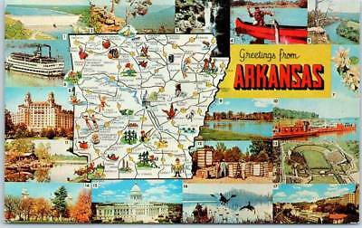 Arkansas State Map / Multi-View Postcard w/ River Scenes Dexter Chrome c1950s