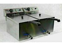 Electric Counter top Double Fryer with Oil Drain Tap Commercial 3KW+3KW 13A 20L