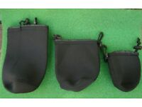 SET of 3 Neoprene Pouches / Bags (NEW) ... Ideal for camping, hiking, photography, metal detecting