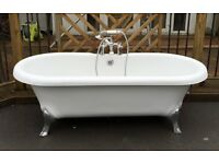 Victoria Plumb Bath and Victorian mixwe taps. Excellent condition (4 years old). Chrome Legs.