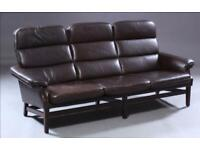 Vintage retro Danish brown leather 3 seater sofa couch mid century